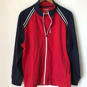 Izod Red and Blue Zip Front Warm Up Jacket